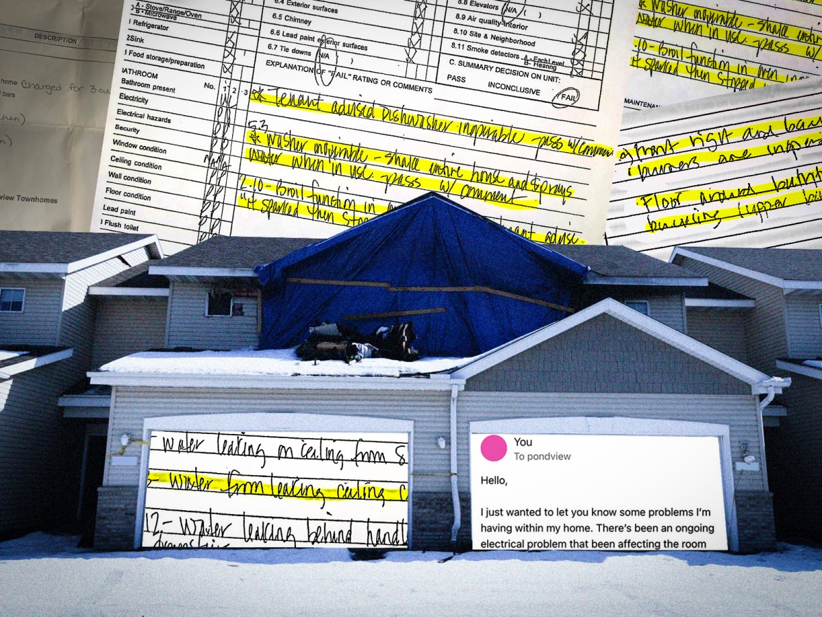 A stylized image showing a house with a blue tarp over part of the roof, inspection documents are layered below the image.