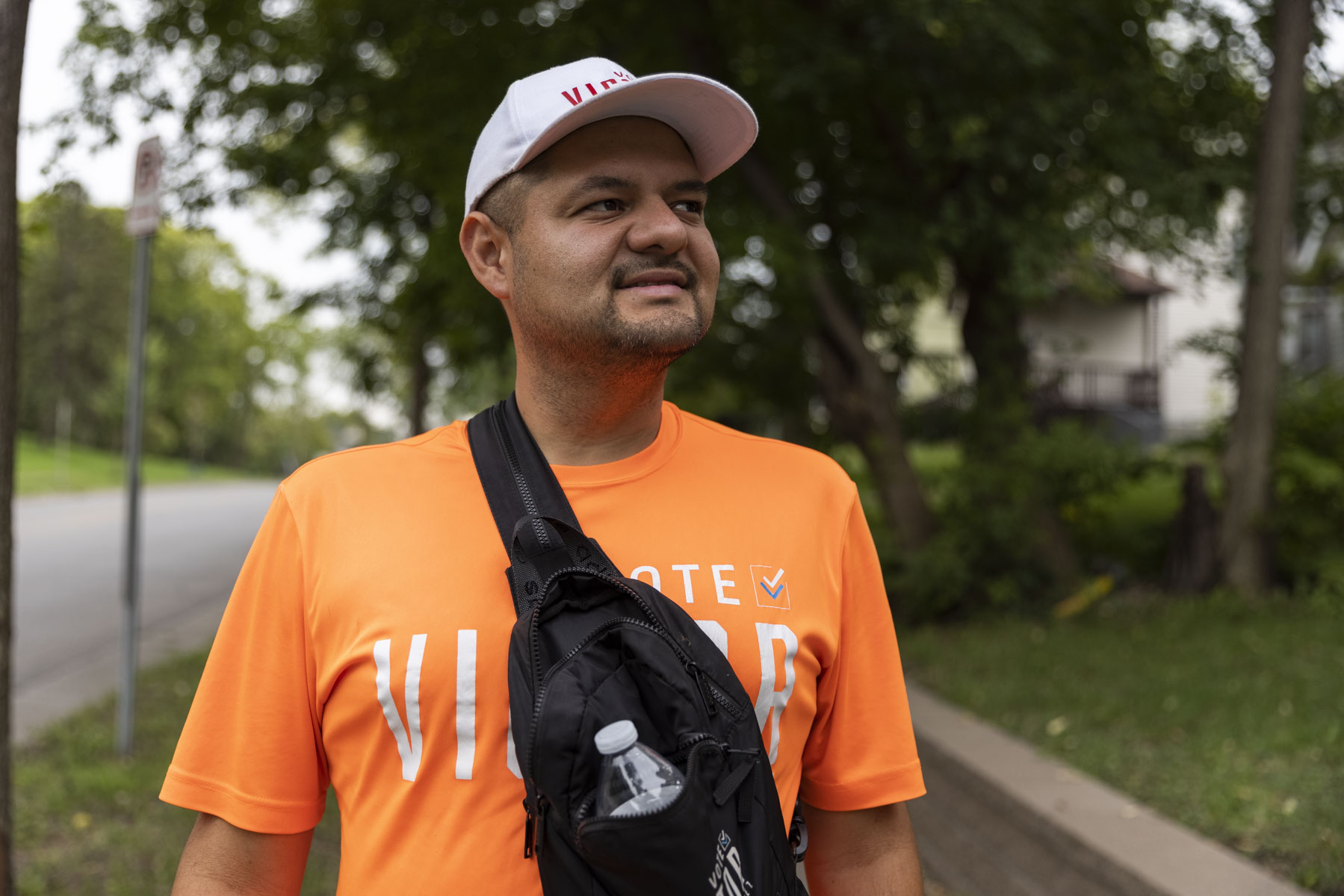 Victor Martinez, a candidate for the Ward 5 City Council seat in Minneapolis, door-knocks almost every day, delivering his pro-police, pro-life message