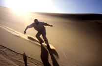 Back at the Killian cache, Jon surfs Erg Killian, just about in the middle of the Sahara.