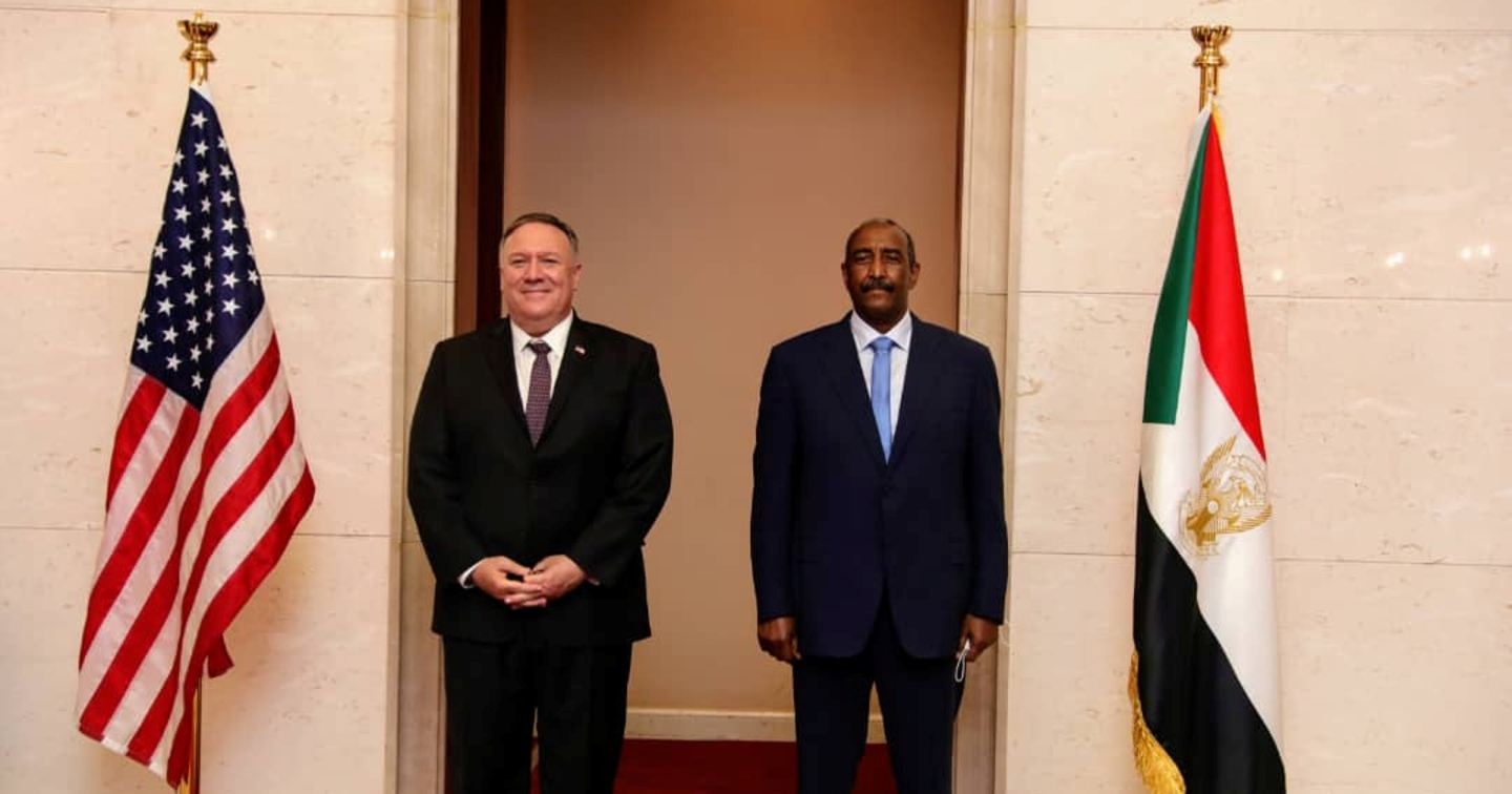 US Secretary of State Mike Pompeo, left, with Abdel-Fattah Burhan, head of Sudan's ruling sovereign council, in Khartoum in this August 25, 2020