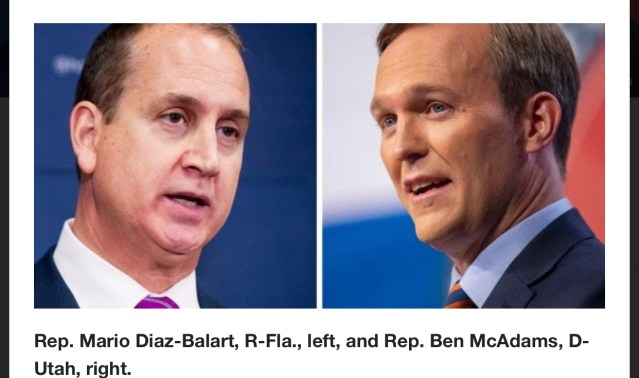 Rep. Mario Diaz-Balart, R-Fla., left, and Rep. Ben McAdams, D-Utah, right.