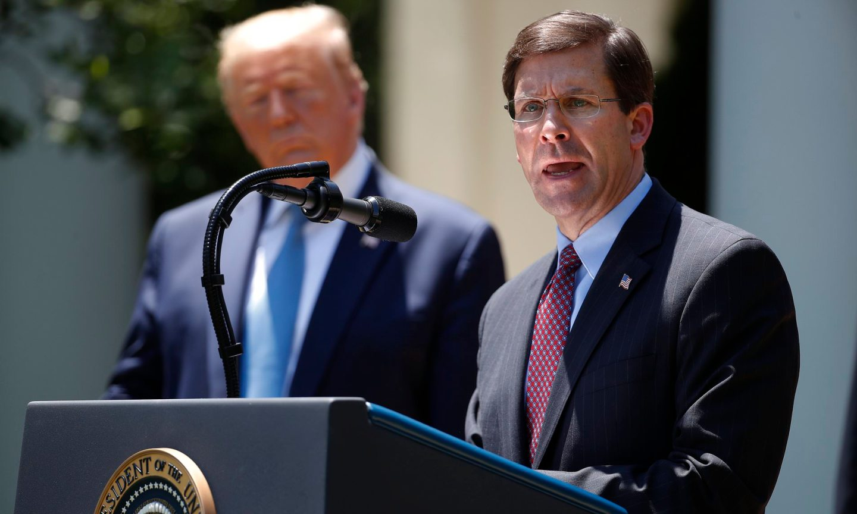 Defense Secretary Mark Esper (right)