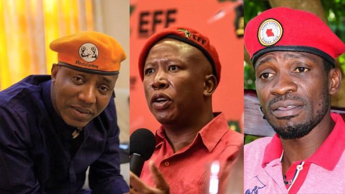 L-R: Omoyele Sowore; Julius Malema and; Bobi Wine.