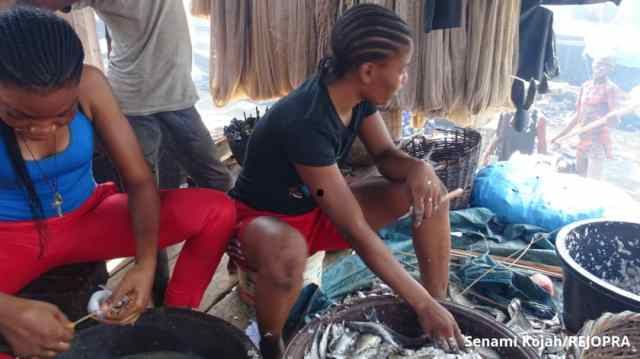 Teju Azankpo and her sister scale and prep fish for processing in Makoko.
