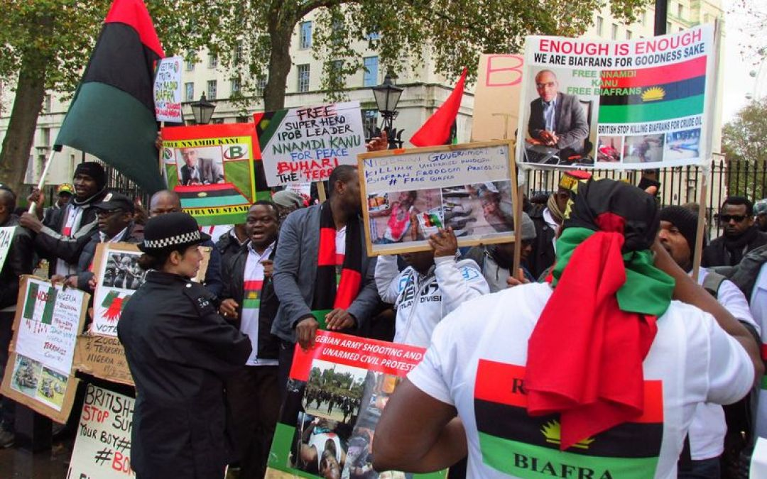 Biafra Agitators Storm UK Parliament, London To Protest Against Alleged Genocide In South-East