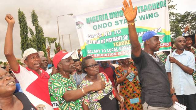 Image result for Ondo State NUT Protesters Demand FG Hand Over Primary School Management To State Governments