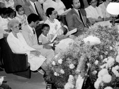 Alice Smith, left, wife of the Rev. Dr. Kelly Miller Smith, left, her son, the Rev. Kelly Miller Smith Jr., and other members of the immediate family sit in the front row of the First Baptist Church, Capitol Hill, June 6, 1984 for the 'Memorial Celebration.' Ricky Rogers / The Tennessean