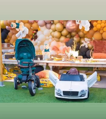 Child Khotso rocks costly jewelry, gets another Bentley on first birthday celebration