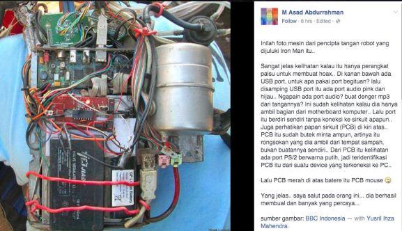 Tangan Robot Iron Man Wayan Sumardana Bali Bohongan alias Hoax 2