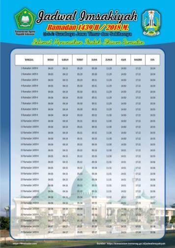Jadwal Imsakiyah 1439 Ramadan 2018 - Jawa Timur Surabaya