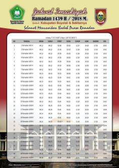 Jadwal Imsakiyah 1439 Ramadan 2018 - Kabupaten Boyolali JATENG