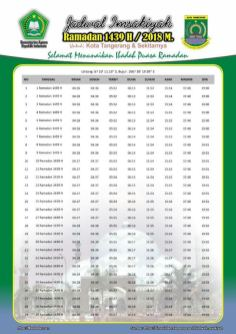 Jadwal Imsakiyah 1439 Ramadan 2018 - Kota Tangerang BANTEN