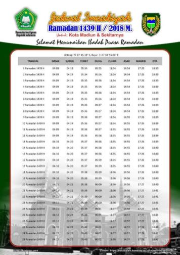 Jadwal Imsakiyah 1439 Ramadan 2018 - Madiun Jawa Timur
