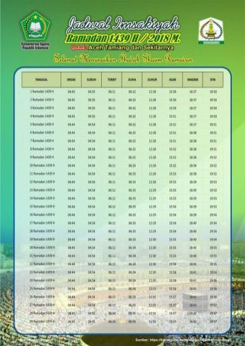 Jadwal Imsyakiyah Ramadan 2018 - Aceh Tamiang