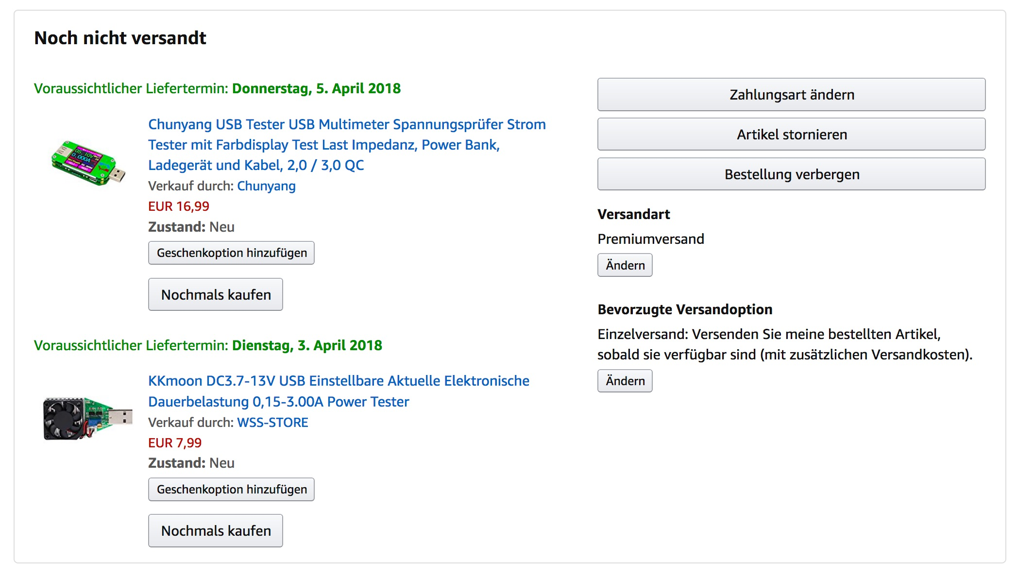 Amazon Bestellung