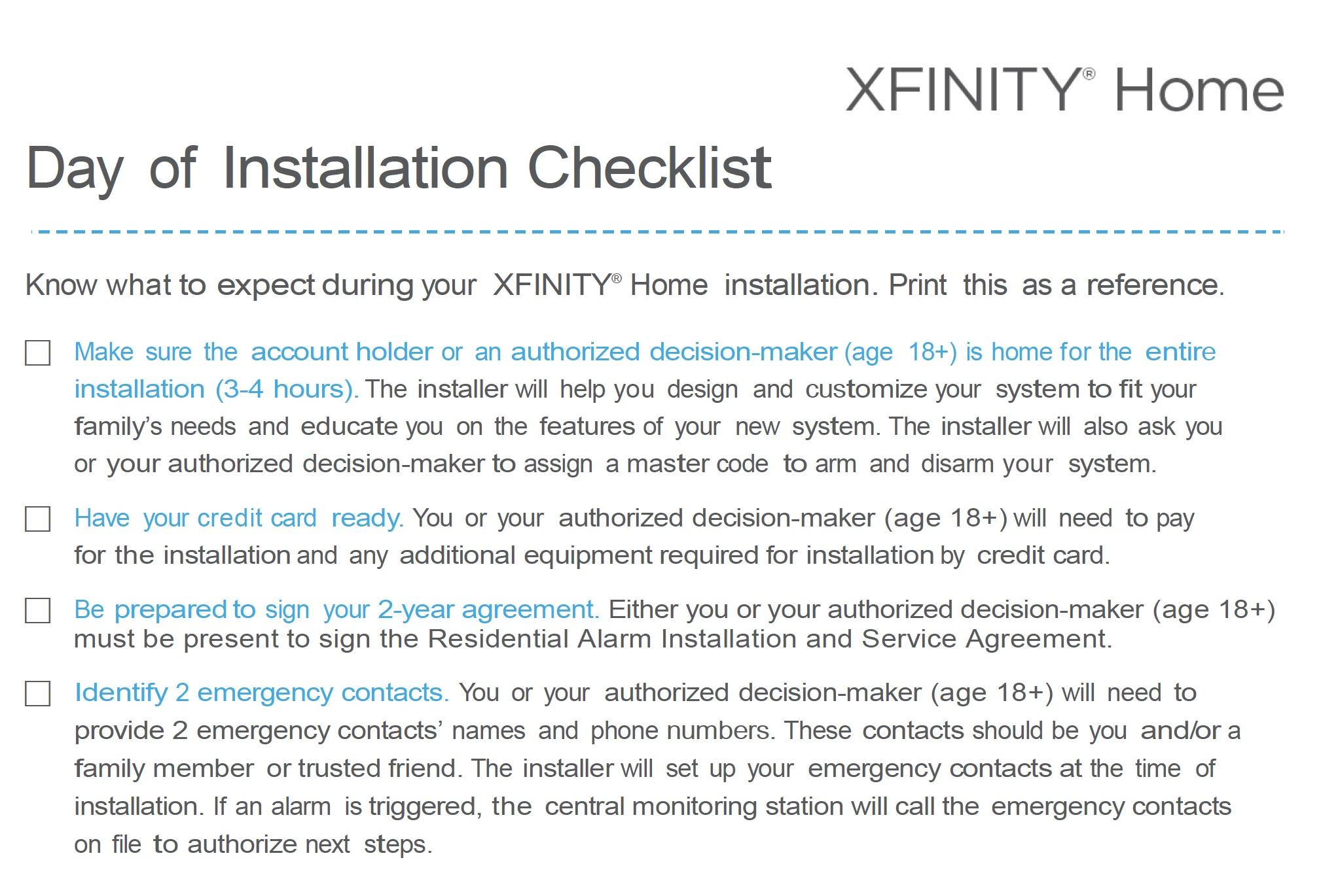 XFINITY_Home_Secure_Preinstall_Checklist_HOW9804_04032015_pdf