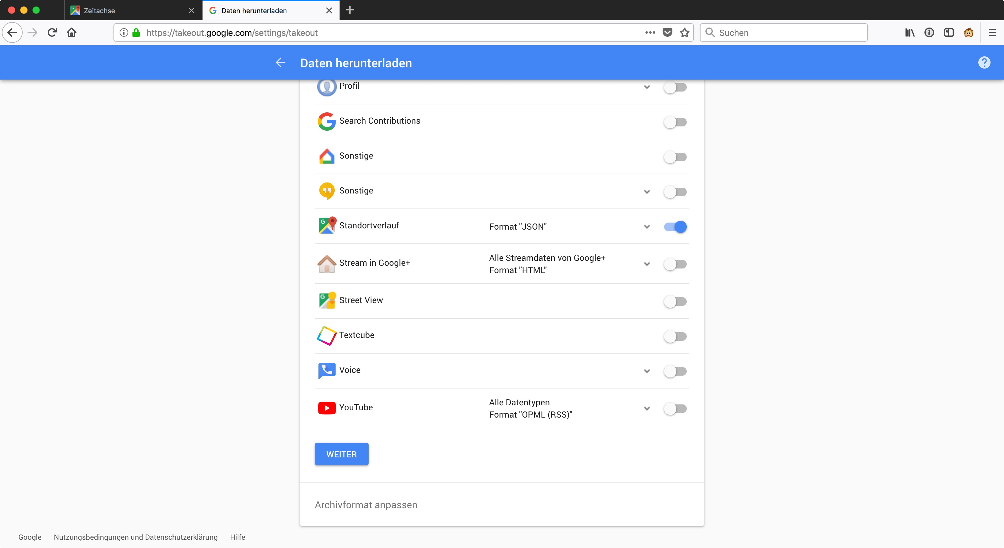 Takeout.google.com