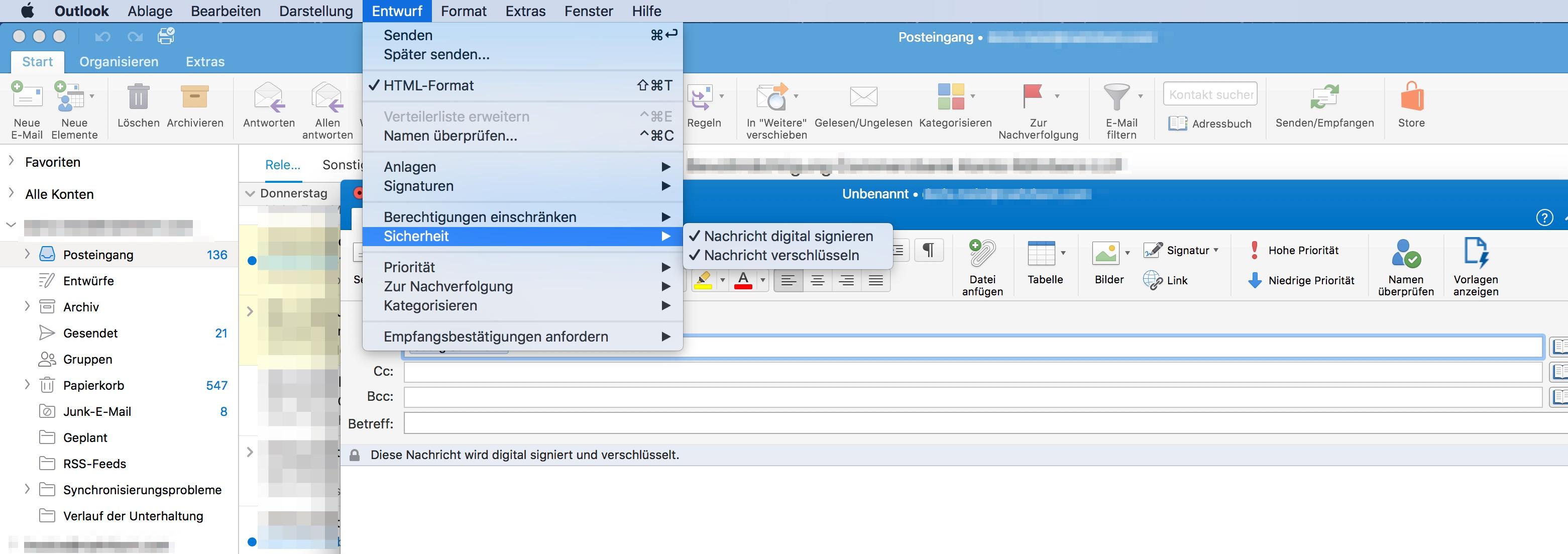 Outlook Mac Mails verschicken