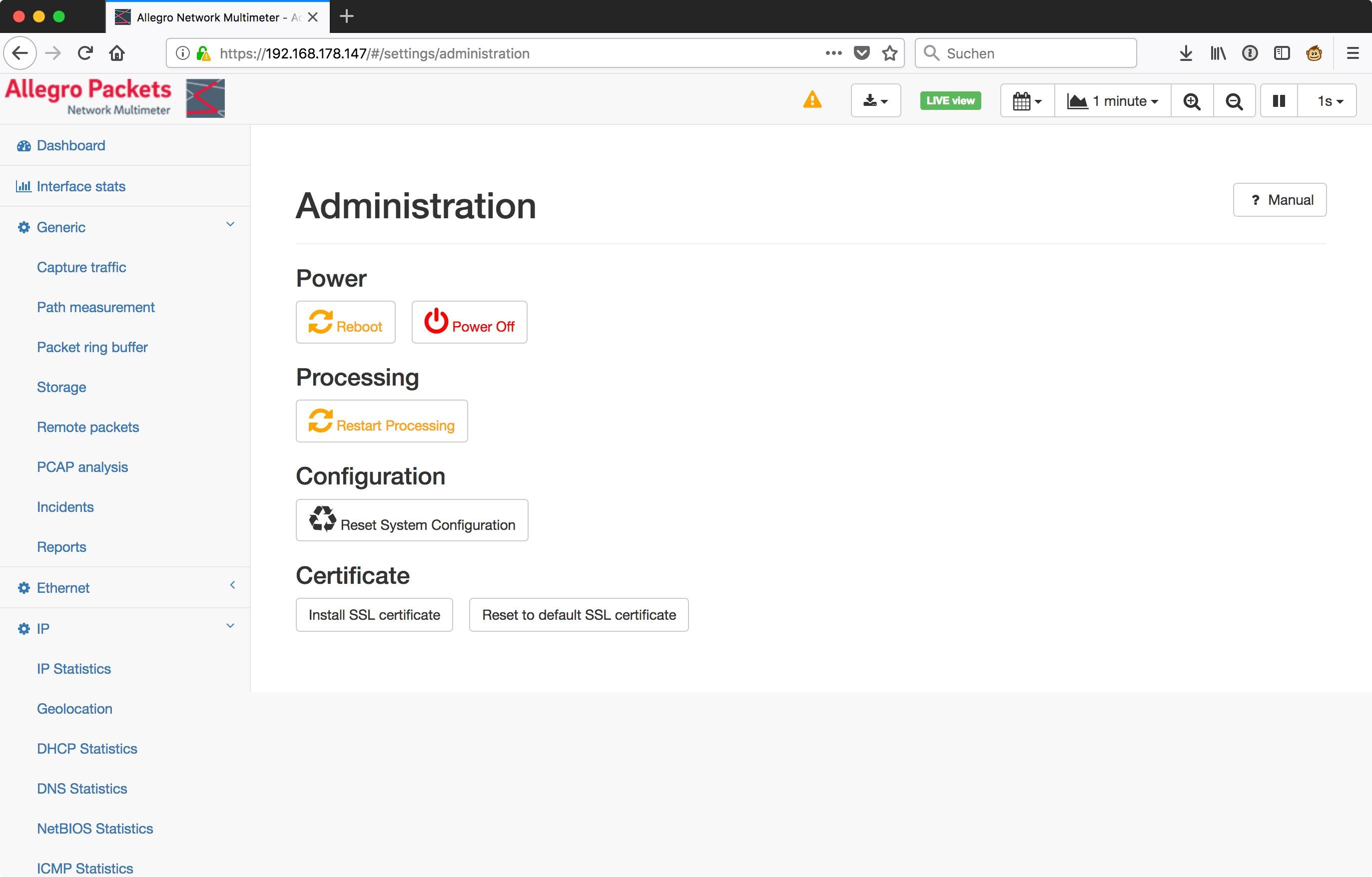 Allegro_Network_Multimeter_-_Administration