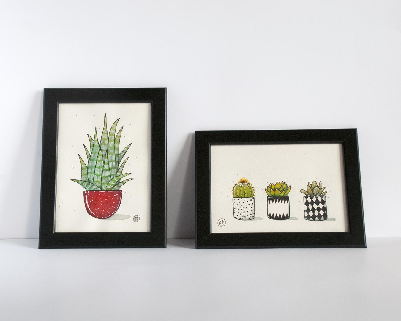 acuarelas de cactus