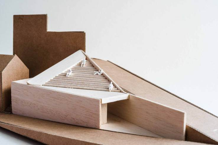 modern architecture model made with wood and cardboard on white background 3d architect architectural t20 Rz2LaJ