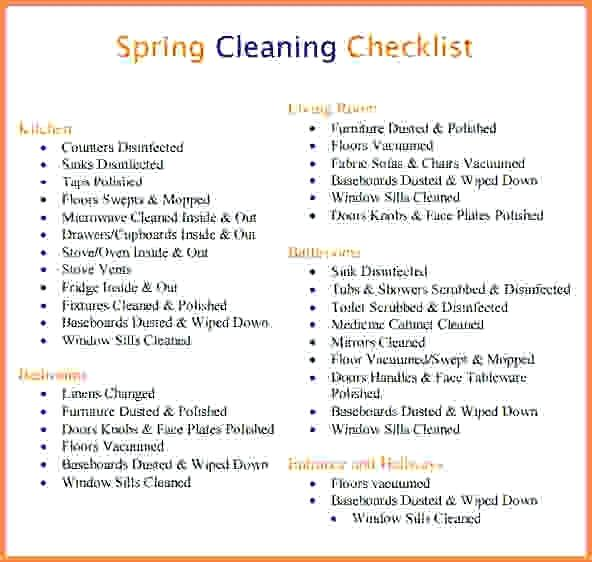Apartment Cleaning Checklist Daily Ate Excel Task Word U