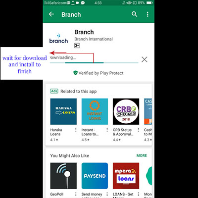 how to download branch app branch loan application wait download and install