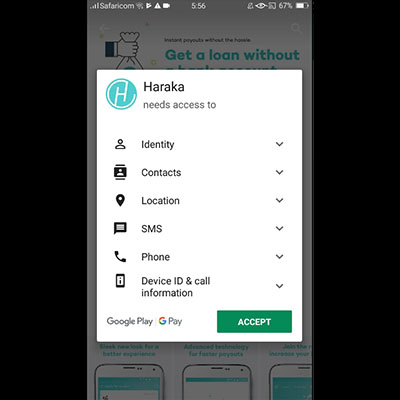 how to download haraka app haraka loan application accept terms and conditions