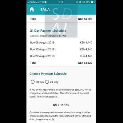 tala loan apply for tala loan tala application form select choose payment schedule 21 day or 30 day