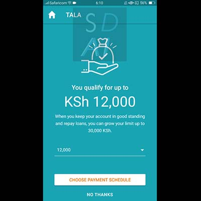 tala loan apply for tala loan tala application form select choose payment schedule or no thanks