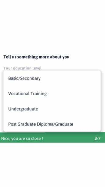 your education level zenka loan registration