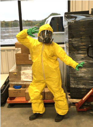 In data collection typical PPE required for spray applications.