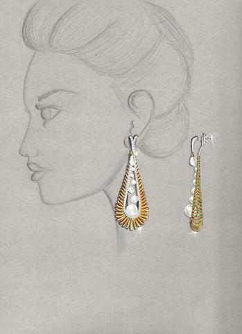 Morning Glory earrings by Divyashree Mallandur Nagaraj of Dubai, United Arab Emirates, Sponsored by 55 Fifty 7 Jewellery LLC