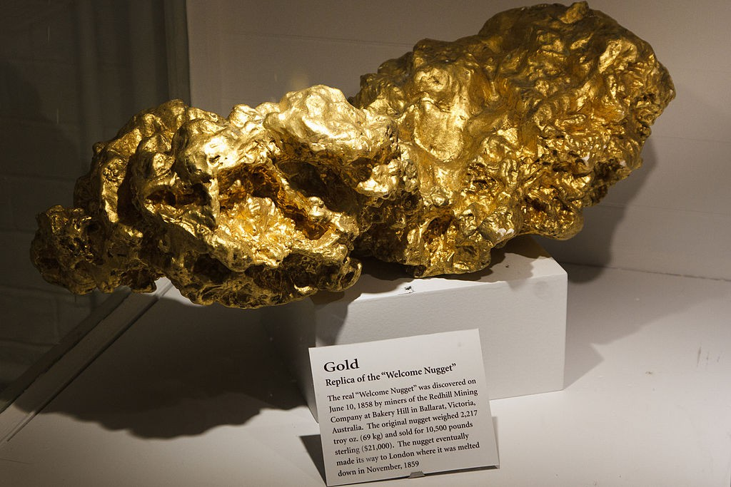 """A Replica of the """"Welcome Nugget"""" in the Mineral Hall"""