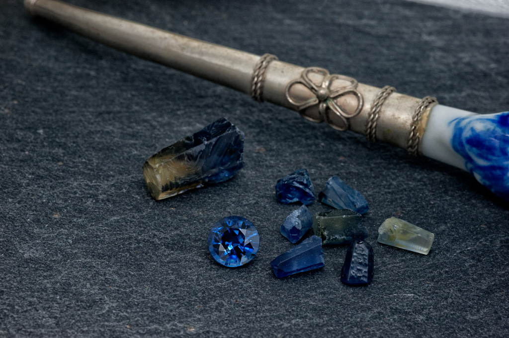 A selection of rough and cut Royal Mekong Sapphires.