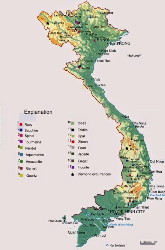 Bản đồ mỏ Đá quý Việt Nam