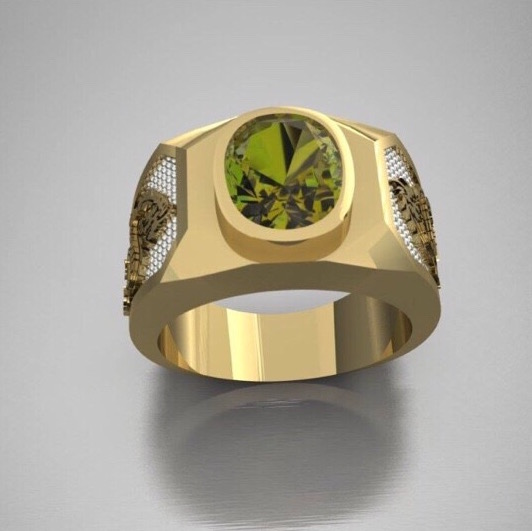 Design and make Peridot gold ring for men