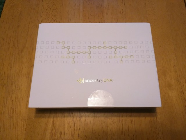 White box from AncestryDNA kit containing DNA test.