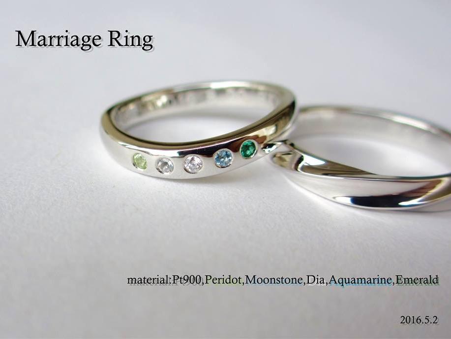 マリッジリング 結婚指輪 誕生石 ペリドット エメラルド アクアマリン ムーンストーン ダイヤモンド SAIJO 森拓郎