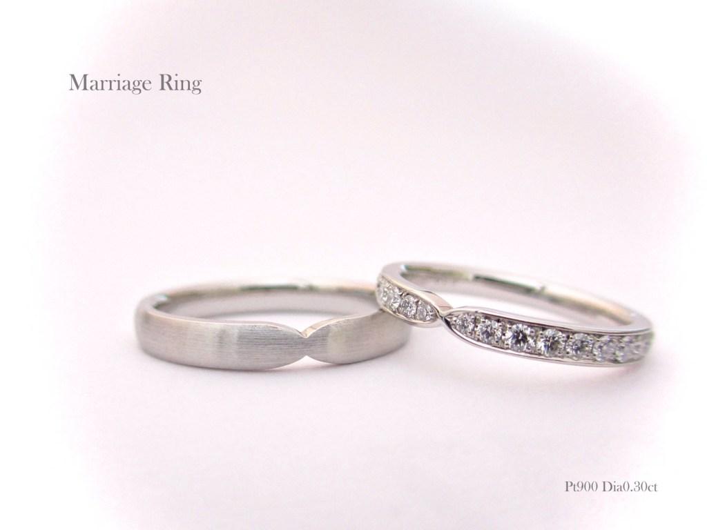 マリッジリング おしゃれ シンプル 結婚指輪 Pt900 プラチナ ダイヤモンド SAIJO 森拓郎