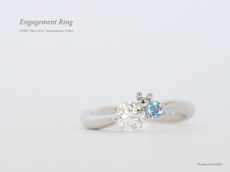 エンゲージリング 婚約指輪 ダイヤモンド アクアマリン SAIJO 森拓郎