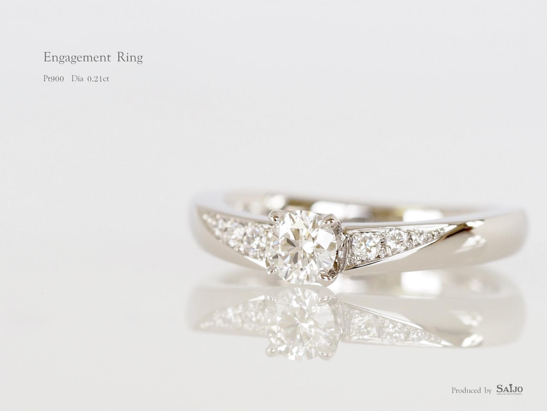 立て爪リングについていたダイヤモンドを使ってジュエリーリフォームされた指輪