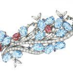 SAIJOのデザイナーが描いたブローチのデザイン画【プラチナ、ダイヤモンド、アクアマリン、ルビー】