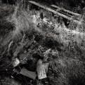 Vad som återstår av grillen och grillplatsen