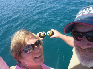 A toast to the Sea of Cortez as we enter the channel...!