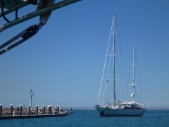 Watching our friends Roy and Cheryl come into CostaBaja on s/v Freedom. Their current crew positions are a bit plusher than when they were on Happy Dance!!!