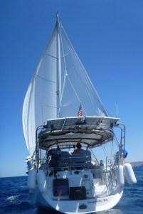 Wing on wing sailing to Las Cocinas
