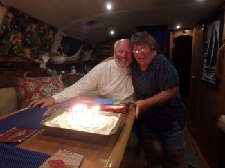 Bon fire and carrot cake for Marty's birthday