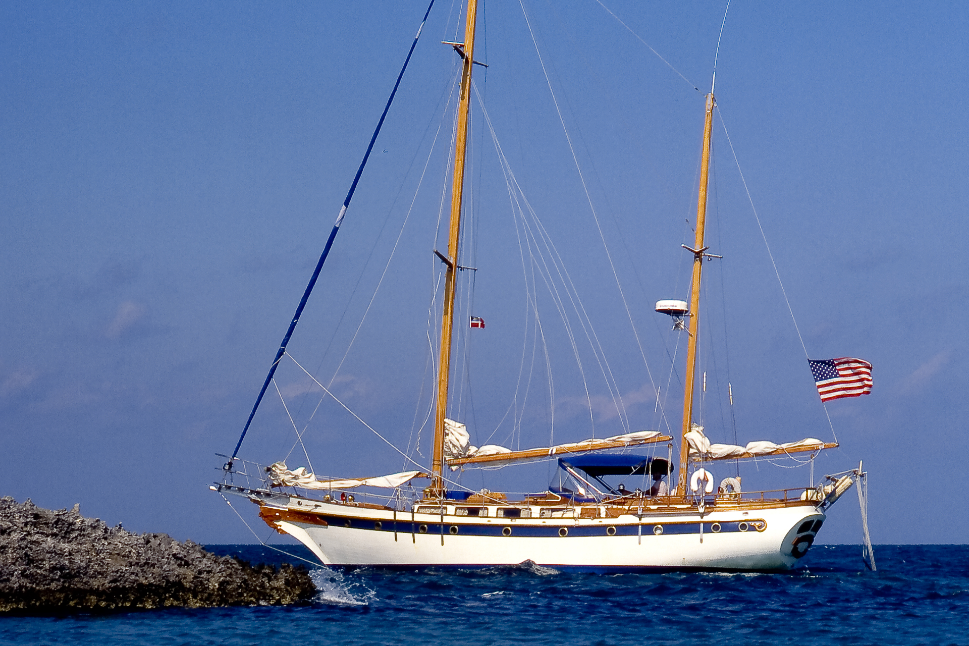 Sailing ketch Colony II in the Bahamas