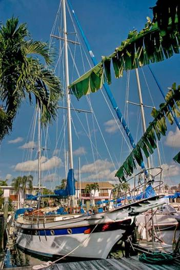 Sailing vessel Colony II at the dock in Fort Lauderdale Florida.  Pictured for an article about using oil on storm waters as a storm tactic.